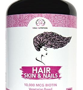 Hair, Skin & Nails – Vegan Vitamin – Natural Biotin 10,000 mcg – Supports Healthy Hair Growth, Glowing Skin and Strong Nails – Perfect Beauty – Gluten Free & Non-GMO – 60 Veggie Capsules
